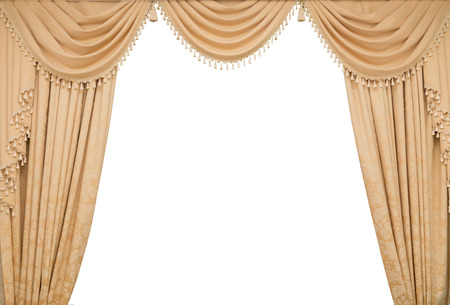 classic beige curtain hanging on a window Stock Photo - 26404452