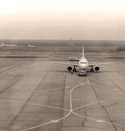just arrived: Airplane has just arrived and is parked