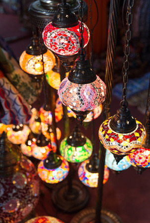 Traditional eastern lamps lighting in the darkness photo