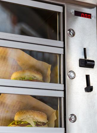 AMSTERDAM, NETHERLANDS - MARCH 23, 2014: Burger vending machine, March 23, 2014, Amsterdam, Netherlands