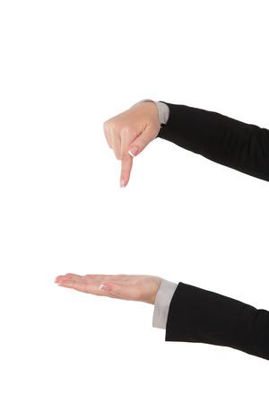 palmier: Femme d'affaires montrant copyspace, isol� sur blanc