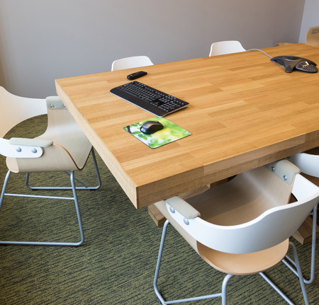 teleconference: Modern meeting room with equipment for teleconference