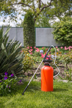 Lawn and garden pesticidefertilizer sprayer Stock Photo