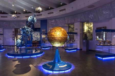 MOSKOU, RUSLAND - 28 september: Tentoonstelling in Moskou Planetarium op 28 september 2014 in Moskou. Een van 's werelds grootste en oudste planetarium.