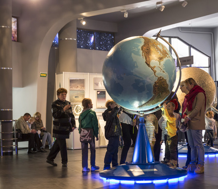 28: MOSCOW, RUSSIA - SEPTEMBER 28: Exhibition in Moscow Planetarium on September 28, 2014 in Moscow. One of the world`s largest and oldest planetarium.