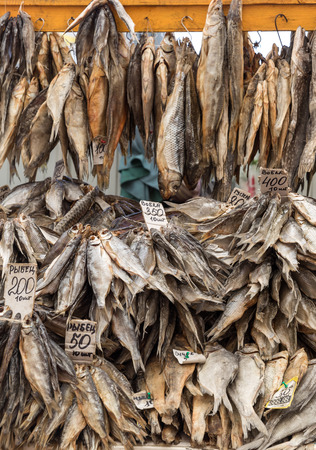dryed: Dry fish selling on a local market Stock Photo