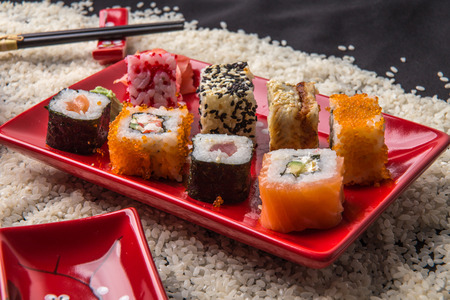 Japanese food - sushi and rolls photo