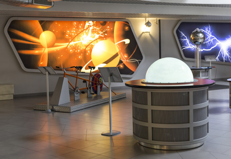planetarium: MOSCOW, RUSSIA - SEPTEMBER 28: Exhibition in Moscow Planetarium on September 28, 2014 in Moscow. One of the world`s largest and oldest planetarium.