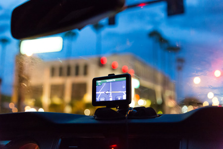 sat: GPS device in a car, satellite navigation system Stock Photo