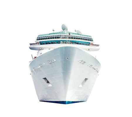 白い背景で隔離のクルーズ船