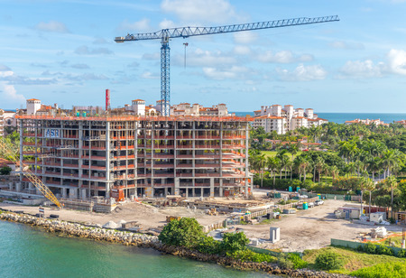 MIAMI, USA - SEPTEMBER 06, 2014 :View of apartments in Fisher Island on September 06, 2014 in Miami.
