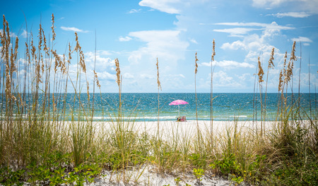 st  pete: Girl sunbathing under pink umbrella on St. Pete beach in Florida, USA Stock Photo
