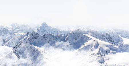 Panorama of winter mountains in Caucasus region, Russia, view from Elbrus mountain 版權商用圖片