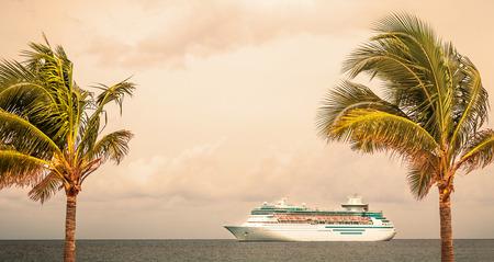 seas: NASSAU, BAHAMAS - SEPTEMBER, 06, 2014: Royal Caribbeans ship, Majesty of the Seas, sails in the Port of the Bahamas on September 06, 2014