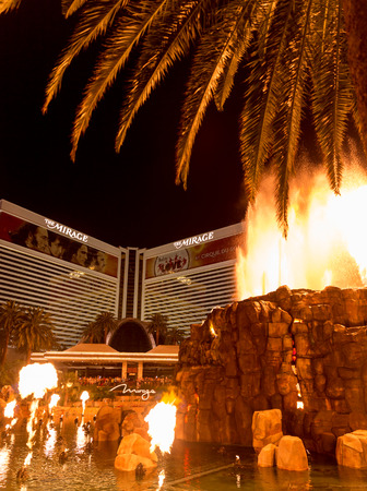 explotion: LAS VEGAS, NEVADA - MAY 29: Mirage hotel on May 29, 2015 in Las Vegas, Nevada,USA. Mirage is a luxurious hotel famous with its volcano street show