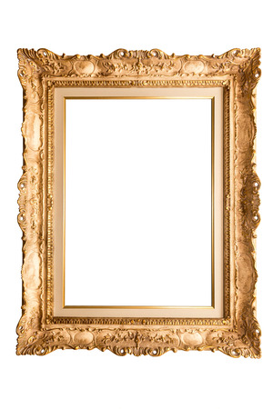 old antique gold frame over white background Stock Photo
