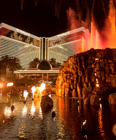 a mirage: LAS VEGAS, NEVADA - MAY 29: Mirage hotel on May 29, 2015 in Las Vegas, Nevada,USA. Mirage is a luxurious hotel famous with its volcano street show