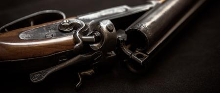 tiro al blanco: escopeta de doble cañón (por objetivos, tiro al plato y arcillas deportivos) Foto de archivo