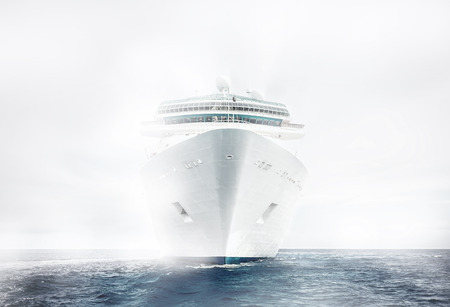 Cruise ship sailing in fog