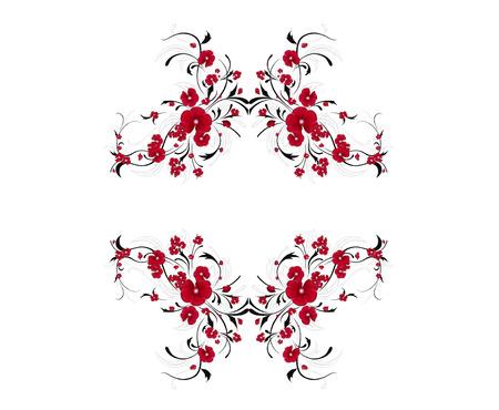 ornamental garden: red and black floral design for decoration