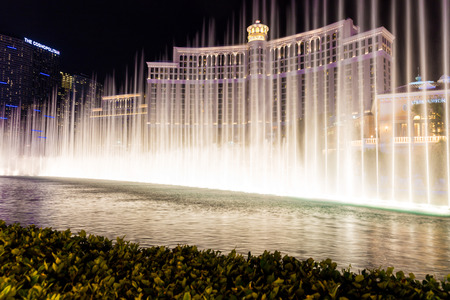 bellagio fountains: LAS VEGAS, NEVADA - MAY 29: Bellagio hotel on May 29, 2015 in Las Vegas, Nevada,USA. Bellagio is a luxurious hotel famous with its fountains