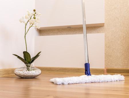 現代の白は家のクリーニングの木の床をモップします。