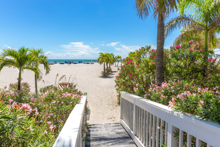 florida beach: Boardwalk on beach in St. Pete, Florida, USA
