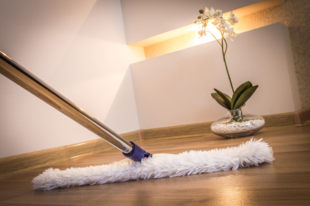 mucama: Fregona blanca moderna limpieza piso de madera en casa