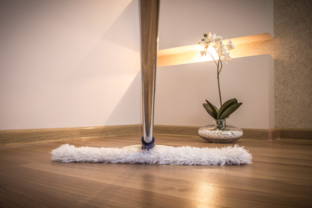 besom: Modern white mop cleaning wooden floor in house