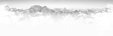 Panorama of winter mountains in Caucasus region,Elbrus mountain, Russia, black and white