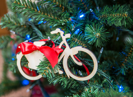 Christmas tree with bike decoration