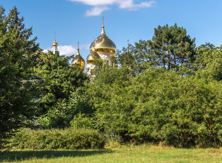 ababa: Golden dome of church, view through trees