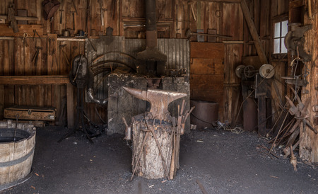 Bernardino: old blacksmith forge in Calico the Official State Silver Rush Ghost Town, San Bernardino County park