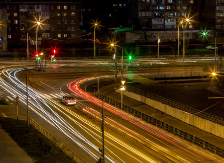 intersection: Road intersection at night Stock Photo