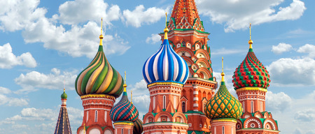 ロシア、モスクワの赤の広場の聖バジル大聖堂 写真素材