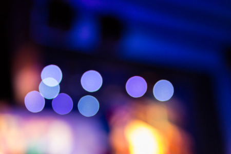 Background of a lot of concet lamps during a show, blurred background with bokeh Stock Photo