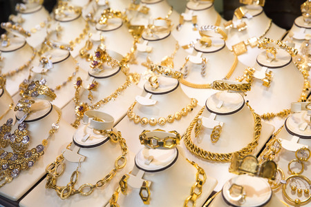 gold souk: a gold market in middle east city Stock Photo