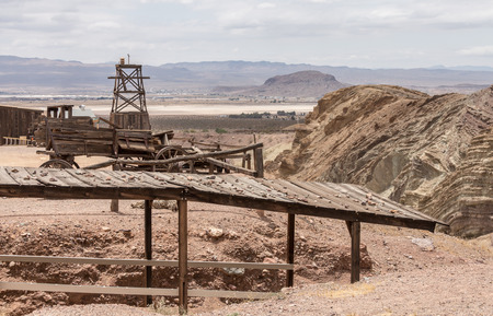 bernardino: Calico town - the Official State Silver Rush Ghost Town. Calico is a park that belongs to San Bernardino County. Stock Photo