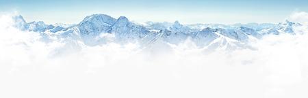 elbrus: Panorama of winter mountains in Caucasus region,Elbrus mountain, Russia
