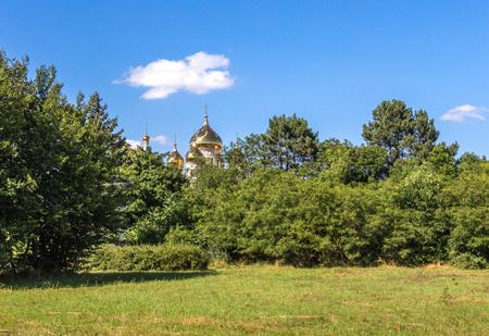 view through: Golden dome of church, view through trees
