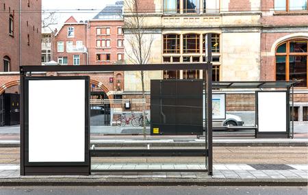 bus station: Blank billboard on a roadside in european town