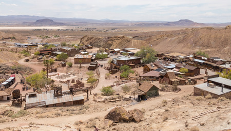 ghost: Calico town - the Official State Silver Rush Ghost Town. Calico is a park that belongs to San Bernardino County. Editorial