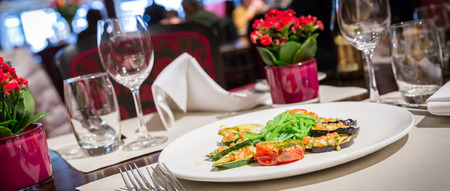 Fine table setting in a luxurious restaurant