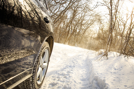 no skid: Driving SUV car in winter on forest road with much snow