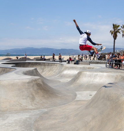 VENICE, UNITED STATES - MAY 21, 2015: Ocean Front Walk at Venice Beach, Skatepark , California. Venice Beach is one of most popular beaches of LA County.