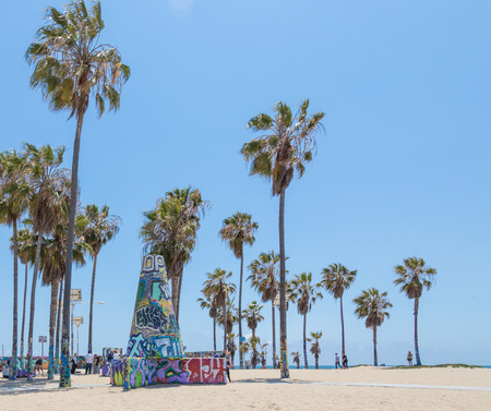 VENICE, UNITED STATES - MAY 21, 2015: Ocean Front Walk at Venice Beach, California. Venice Beach is one of most popular beaches of LA County.