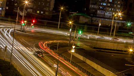 road intersection: Road intersection at night Stock Photo