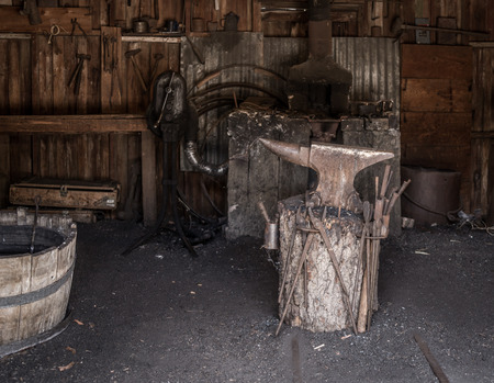 forge: old blacksmith forge in Calico the Official State Silver Rush Ghost Town, San Bernardino County park