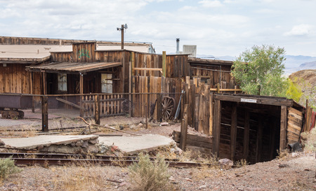 silver state: Calico town - the Official State Silver Rush Ghost Town. Calico is a park that belongs to San Bernardino County. Stock Photo
