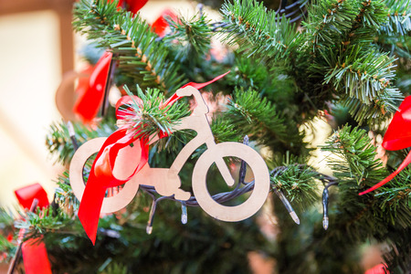 Christmas tree with bike decoration